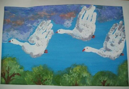 Aesthetic Painting of Swan