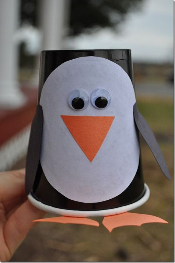 Easy Winter Crafts for Kids-Snowmen and fun Cup Penguin