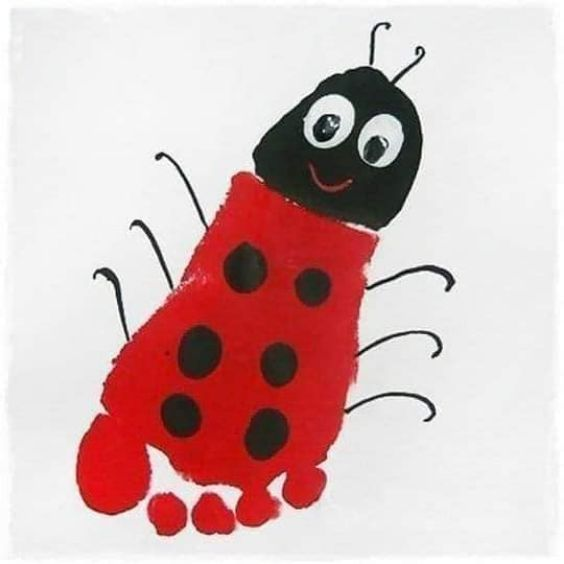 Hand and Footprint Craft Ideas for Kids Lady Bug Craft