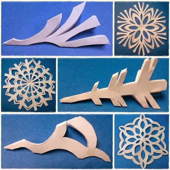 Multiple White Paper Snowflake Design