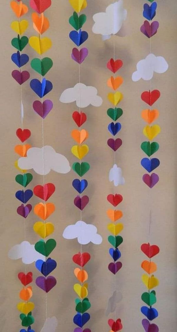 Rainbow Hearts Hanging