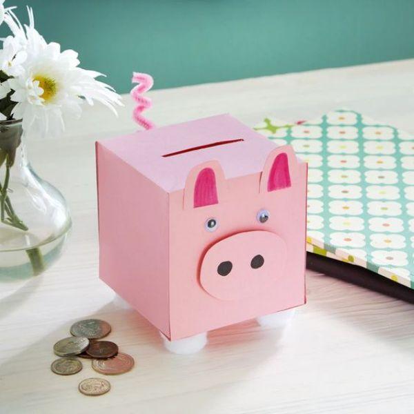 Animal Fun-Pig Crafts for Kids Box Piggy Bank