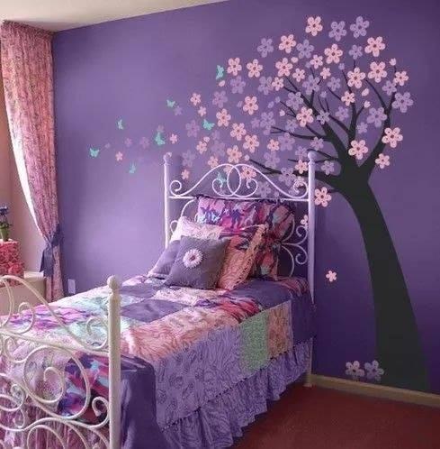 Room Decor Ideas for Kids-Beautiful Wall Art And Room Decor Purple Blossoms Room Decor