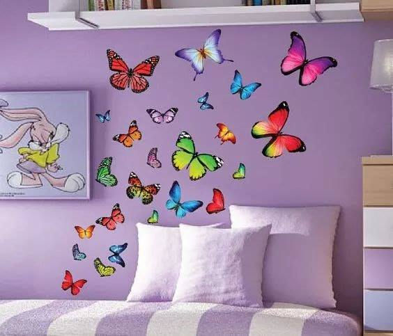 Room Decor Ideas for Kids-Beautiful Wall Art And Room Decor Butterfly Lavender Room Decor