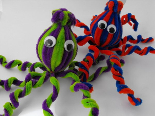 Octopus Animal Craft From Pipe Cleaner