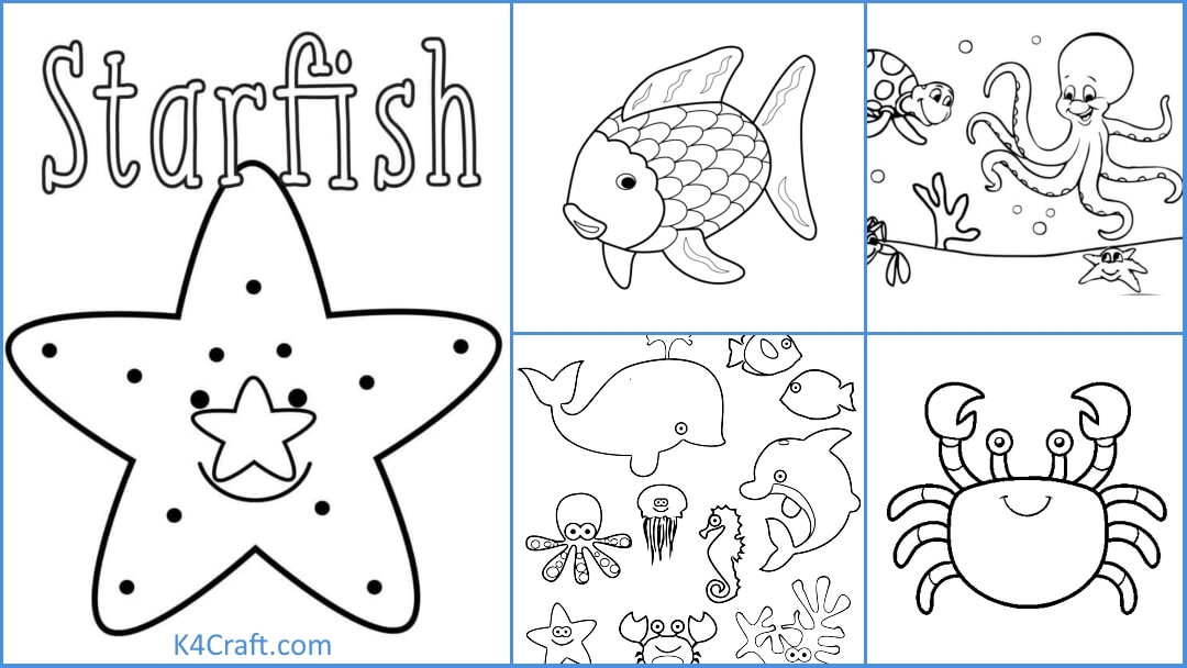 Easy Sea Animal Coloring Pages For Kids - Kids Art & Craft