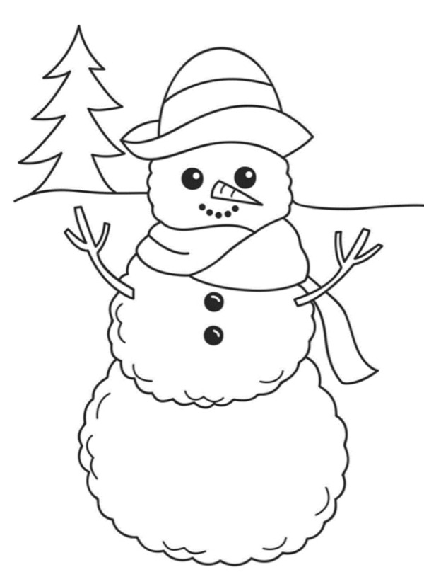 Free Printable Snow Figure Colouring Pages For Kids A One With a Tree at The back