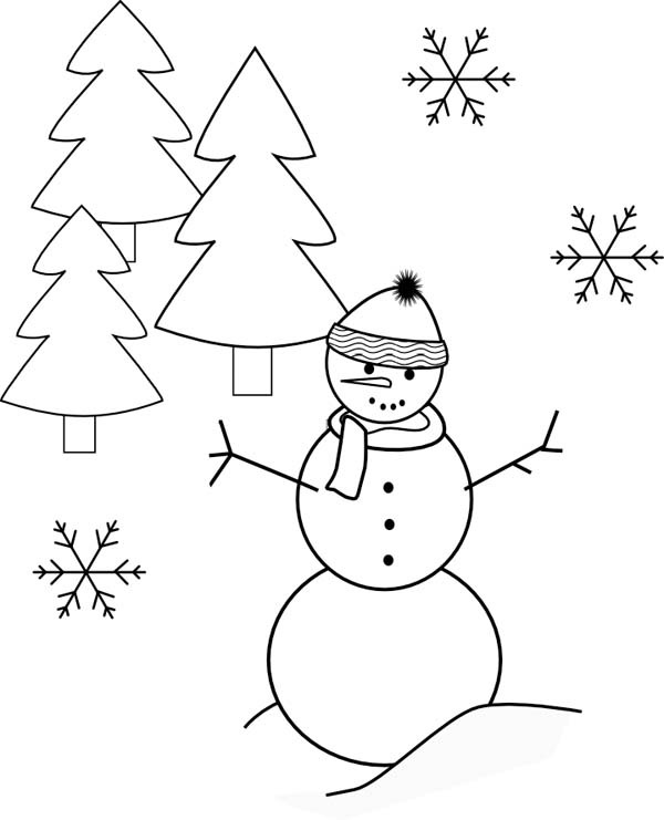 Free Printable Snow Figure Colouring Pages For Kids Snowflakes Falling on The Ground