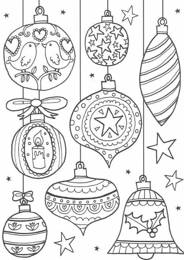 Pretty Adorable Coloring Page For Christmas