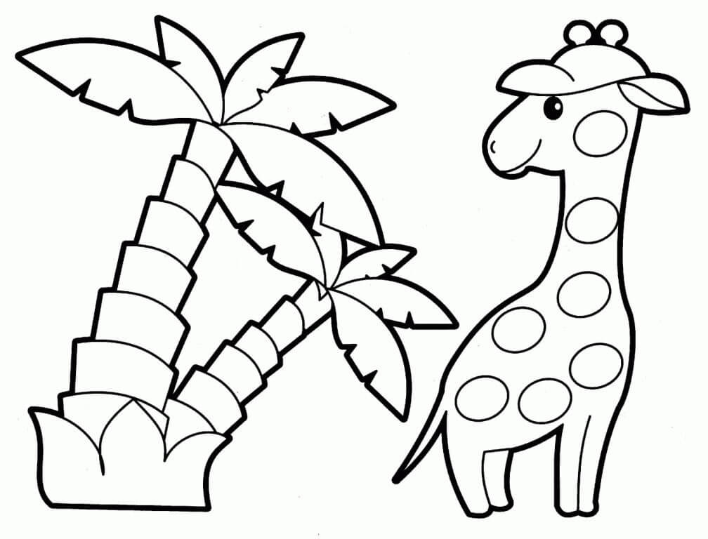 Nature and Wildlife-Animal Coloring Pages for Kids Giraffe And Coconut Trees