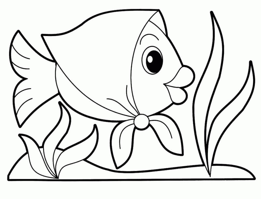Animal Coloring Printables for Kids Happy Fish