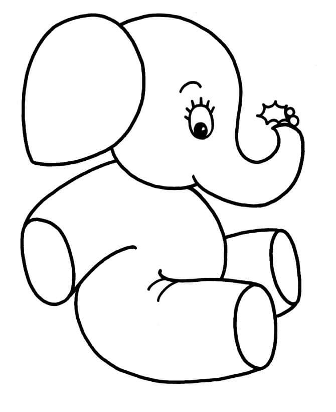 Animal Coloring Printables for Kids Baby Elephant