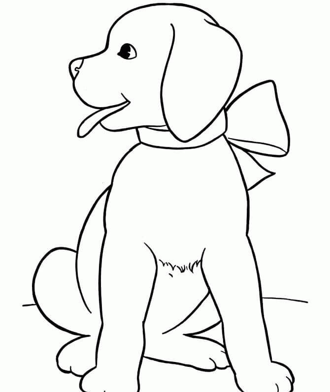 Nature and Wildlife-Animal Coloring Pages for Kids Little Puppy With Bow