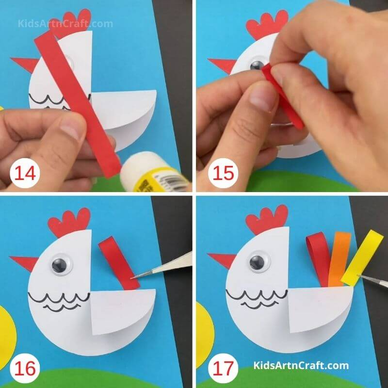 How to Make Paper Circle Hen and Chick Craft Step by Step Instructions Easy Tutorial