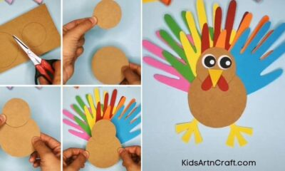 How to Make Paper Craft Turkey for Thanksgiving Step by Step Instructions Easy Tutorial